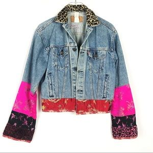 LEVI'S Bella Dahl Blue Denim Silk Trim Jacket S M
